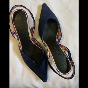 Zara Trafaluc suede pointed sling heels